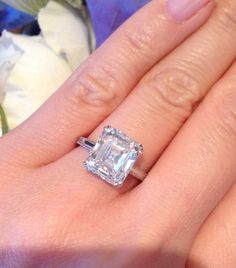 Art Deco 4.78 CT Old Emerald Cut Diamond Engagement Ring