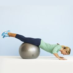 Ball Push-Up - Roll up on the ball until it is beneath your thighs. (Your body should be in a straight line, with hands directly beneath your shoulders.) Bend arms and lower your body until your nose almost touches the floor. Straighten your arms to complete 1 rep. Do 3 sets of 10–12 reps, resting for 30 seconds between sets.