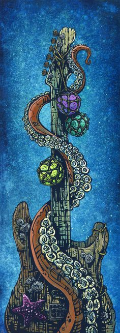 Day of the Dead Artist David Lozeau, Underwater Strat, Oceanic Art, David Lozeau Dia de los Muertos Art - 1
