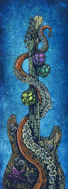 Day of the Dead Artist David Lozeau, Underwater Strat, Oceanic Art, David Lozeau Dia de los Muertos Art - 1