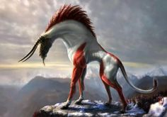 Fyma, a common Felinian mount. Male Fyma have the red fur and female Fyma have blue-grey fur.