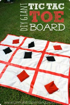Giant DIY Tic Tac Toe Board - duck cloth or $store drop cloth + duck tape the grid + giant bean bags = instant backyard game