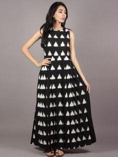 Black Ivory Long Sleeveless Handwoven Double Ikat Dress With Knife Pleats & Side Pockets - Cotton Long Dress, Cotton Dresses, Indian Designer Outfits, Designer Dresses, Designer Kurtis, Designer Wear, Indian Dresses, Indian Outfits, Casual College Outfits