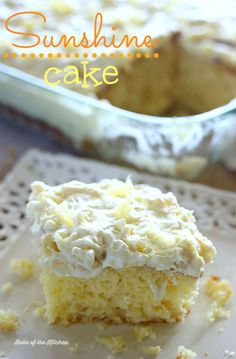 """This light and fluffy """"sunshine"""" cake is infused with pineapple juice, giving it some extra zest. Hello, new favorite summer party cake!"""