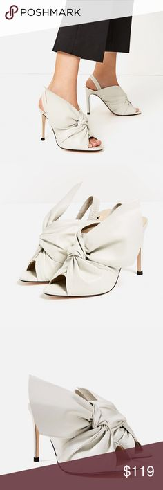 """Zara shoes New with tag. EUR 39 US 8. Ecru high heel leather sandals. Bow detail on the instep. Stretch strap fastening on the heel. Heel height 4.3"""". Upper: 100% Goat Leather Lining: 100% Polyurethane Slipsole: 100% Goat Leather Zara Shoes"""