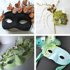 masquerade variety masks, beautifully nature inspired and especially the butterfly mask would be asy to DIY Mascaras Halloween, Halloween Masks, Halloween Diy, Halloween Decorations, Diy Masque, Butterfly Mask, Carnival Masks, Carnival Prizes, Diy Carnival