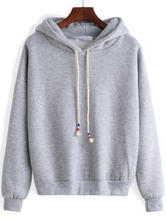 Grey Hooded Long Sleeve Crop Sweatshirt,100% Quality Guarantee! shein.com