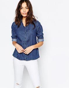 New Look - Chemise en jean à fines rayures