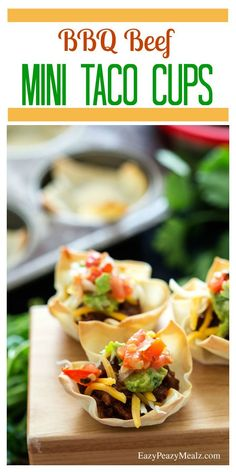 Mini Steak And Bean Taco Cups Recipe — Dishmaps