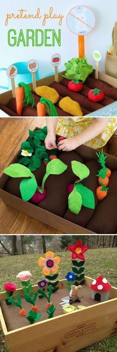 DIY Plantable Felt Gardens for Kids! So much fun and such a sweet activity for building pretend play and fine motor skills!