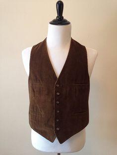 1970s Men's Dark Brown Corduroy Vest Pockets Boho Large L on Etsy, $26.00