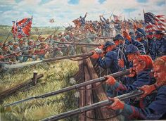 "Gettysburg, by Giuseppe Rava. Showing Pickett's Charge, the ""High Water Mark"" of the Confederacy, July - Visit to grab an amazing super hero shirt now on sale! Confederate States Of America, America Civil War, Military Art, Military History, Gettysburg Battlefield, Civil War Art, Southern Heritage, Civil War Photos, Historical Art"