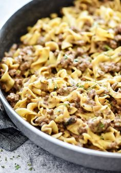 This Easy Beef Stroganoff recipe is a classic dish the whole family will love. It's filled with ground beef and a mushroom sauce served over egg noodles. It is delicious! Ground Beef Recipes For Dinner, Dinner With Ground Beef, Dinner Recipes, Dinner Ideas, Supper Ideas, Beef Casserole, Easy Casserole Recipes, Casserole Dishes, Pasta Recipes