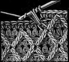 Raised Stitch with Crossed Trebles.