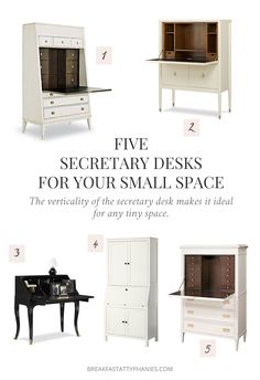 The verticality of the secretary desk makes it ideal for any tiny space. Here are 5 secretary desks that will work for any tiny space.
