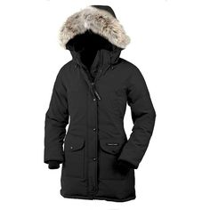 Canada Goose Women's Trillium Parka ($745) ❤ liked on Polyvore featuring outerwear, coats, black, fur parka, fleece lined parka, fleece lined coat, black coat and fur hooded parka