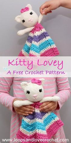 Kitty Lovey - Free Crochet Pattern Loops & Love Crochet This Kitty Lovey was so fun to make and I am in love with how she turned out! Free, beginner-friendly crochet pattern by Loops and Love Crochet! Crochet Patterns Amigurumi, Crochet Blanket Patterns, Baby Blanket Crochet, Crochet Baby, Knitting Patterns, Crochet Birds, Knitting Tutorials, Lace Patterns, Crotchet