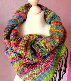Hand woven wool Saori scarf made of handspun art von PastoralWool Handwoven scarf handspun handwoven art yarn