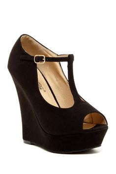 Open Toe T-Strap Wedge so me Awesome Shoes, Cute Shoes, Me Too Shoes, Shoes Heels Wedges, Wedge Heels, Sandals, Open Toe Boots, Ankle Boots, What Should I Wear