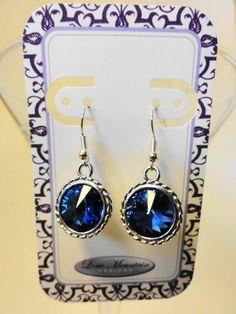 Sapphire Blue Crystal Rivoli Earrings by LoneMountainDesigns