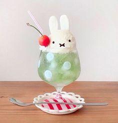 Japanese Sweets, Japanese Food, Cream Soda, Miffy, Cute Desserts, Cafe Food, Aesthetic Food, Cute Cakes, Food Design