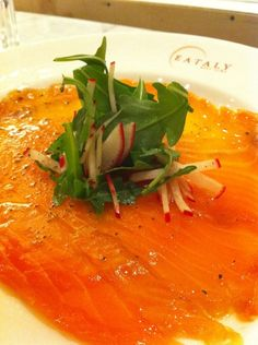 Smoked Salmon Carpaccio. Tried the one in Bucca di Antonio in Lucca, Italy. Perfection!