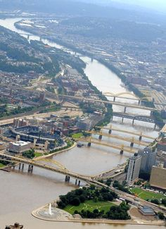 .Pittsburgh bridges - a showcase of engineering ingenuity (looks like some flooding going on when this was shot).