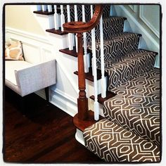 I really like the pattern in this stair runner!  Wish it was in black and white though.