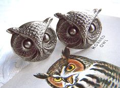 Owl Cufflinks Gothic Victorian BIG & Bold Large Size Silver Plated Vintage Style Men's Cuff Links Gifts Accessories. $24.00, via Etsy.