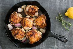 Skillet Lemon Rosemary Chicken ~ EASY, Chicken thighs rubbed and marinated with lemon, rosemary, garlic, then seared in skillet and finished in oven. Marinated Chicken Thighs, Lemon Rosemary Chicken, Simply Recipes, Chicken Recipes, Meat Recipes, Paleo Recipes, Free Recipes, Dinner Recipes, Dinner Dishes