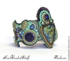Купить Thalassa - браслет с азуритом. - морская волна, бирюзовый, зеленый, синий, голубой, вышитый браслет