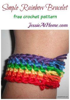 Simple Rainbow Bracelet free crochet pattern by Jessie At Home