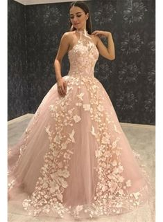 03f7d6eecb Halter Lace Light Peach Lace A-line Long Evening Prom Dresses
