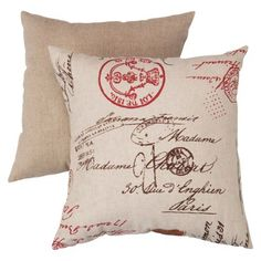 French Postale Toss Pillow - Linen Red (16.5x16.5)
