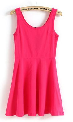 Sleeveless candy colour vest dress X902 Red
