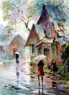 Summer Downpour by LaVere Hutchings love this painting, it brings a sense of peace to me! Art Aquarelle, Watercolor Landscape, Watercolour Painting, Painting & Drawing, Watercolors, Water Drawing, Rain Art, Umbrella Art, Beautiful Paintings