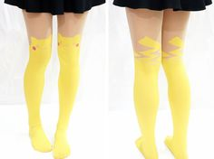 "Cute Pikachu Thigh High Tights/ Pantyhose  One Size  hip: 33.5-43.3"" (85-110cm) height: 4'92""-5'74"" (150cm~175cm)  (with no paper package)"