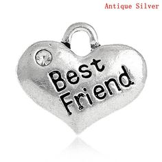Best Friend Charm, Silver friend Jewelry, Heart, Rhinestone,2Pc Drops Pendants, gift idea for friend, DIY necklace, jewelry making supplies, $3.50