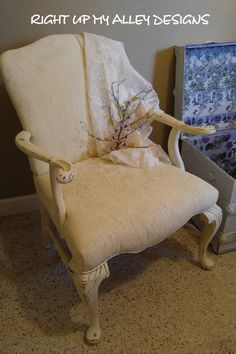 Queen Anne Upholstered chair, Shabby Chic,White chair,Cherry wood chair,Fabric painted,Old white,Annie Sloan chalk paint,18th Century style by RightUpMyAlleyDesign on Etsy