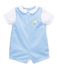 This Blue Plaid Helicopter Layered Shortalls - Infant is perfect! #zulilyfinds