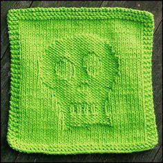 Free Knitting Pattern - Dishcloths & Washcloths : Skully Dishcloth
