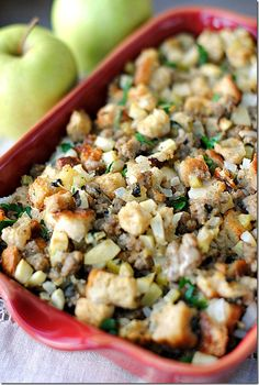 Sausage Apple and Sage Stuffing. Sausage Sage and Apple Stuffing a lightened-up version of a classic favorite. Healthy Thanksgiving Recipes, Thanksgiving Menu, Holiday Recipes, Thanksgiving Stuffing, Ww Recipes, Cooking Recipes, Healthy Recipes, Healthy Meals, Delicious Recipes