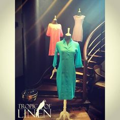 Turquoise Linen Tunic Dress from Tropic Of Linen. Sunlight stream on turquoise at TropicOfLinen fashion stairway