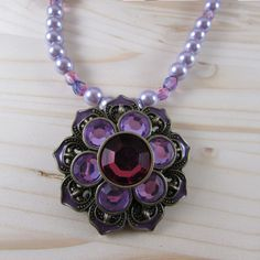 Lotus Necklace - Lotus Flower Pendant - Lotus Pendant Necklace - Purple Lotus Necklace - Purple Pearl Necklace - New Age Jewelry - Handmade