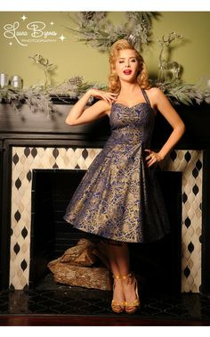 Pinup Girl Clothing- Sweetie Dress in Mystique Royal Blue | Pinup Girl Clothing
