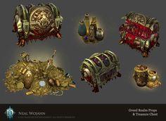 Diablo 3 Greed Realm Props, Neal Wojahn on ArtStation at https://www.artstation.com/artwork/WG95X