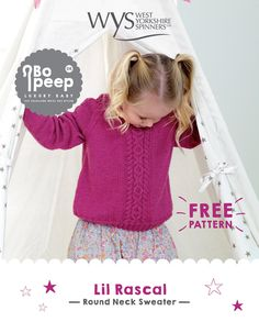 Lil Rascal Round Neck Sweater in West Yorkshire Spinners Bo Peep Luxury Baby - Downloadable PDF Christmas Knitting Patterns, Knitting Patterns Free, Free Pattern, Knit Patterns, West Yorkshire, Baby Scarf, Baby Cardigan, Knit Cardigan, Arm Knitting