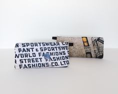 These zippered pouches are just the right size for pencil cases or make-up bags…or anything else that might fit into a9″x4″space. One side featuresthe vintage billboard …