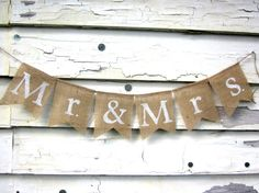 Mr and Mrs Rustic Burlap Banner for Weddings, Photo Shoots, Home Decor on Etsy, $17.50