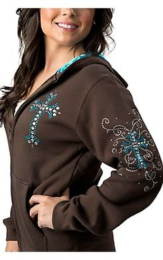 Cowgirl Hardware® Ladies Brown with Turquoise Rhinestone Cross Zip Up Hooded Jacket | Cavender's Boot City